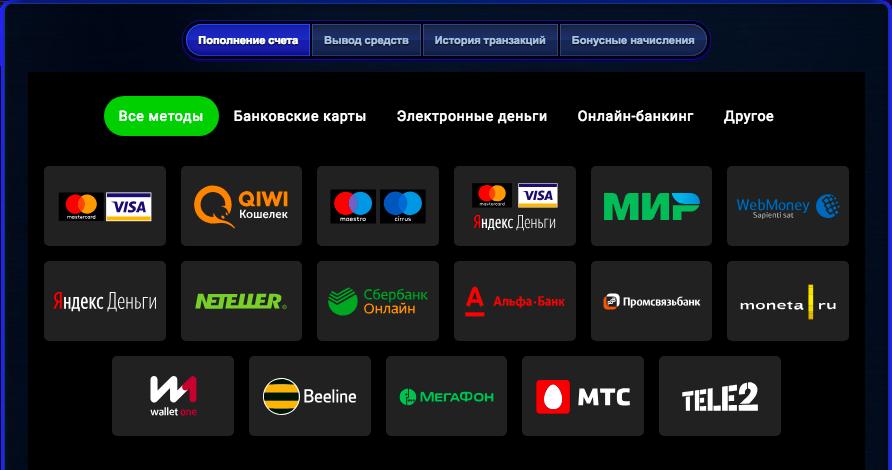 Платежные системы казино вулкан